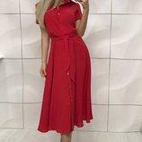 Платье, штапель, 1 42-44 , 2 44-46, красный, морская волна, сиреневый, розовый