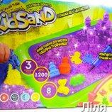 Кинетический песок KidSand 1200 г с песочницей в наборе, Danko toys