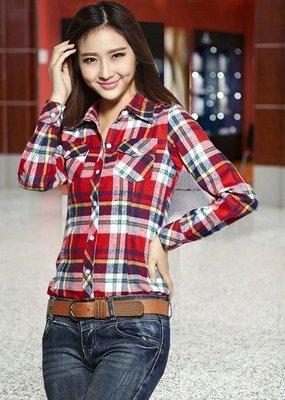 b59aba8d6 Модная рубашка женская в клеточку красно-голубая M-XL 8816-12: 249 ...