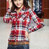 Модная рубашка женская в клеточку красно-голубая M-XL 8816-12