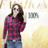 Блузка, рубашка в американском стиле S, M, L 8866-37 красно-синяя