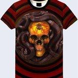Крутая 3d футболка Череп и змея