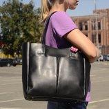 Удобная большая сумка-шоппер на плечо, черная