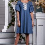 летнее свободное платье стрейч коттон 964