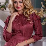 стильное замшевое асимметричное платье в разных цветах 939