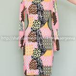 Красивое вискозное платье миди с открытыми, спущенными плечами и вырезами на талии