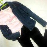 Стильный джинсовый пиджак. Футба в подарок. Обнова