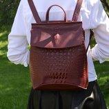 Кожаный рюкзак-сумка трансформер Крокодил