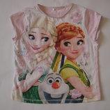Фирменная футболка с Анной и Эльзой хлопок на 9-10 лет идеал