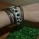 Браслет, набор браслетов, бижутерия, круглый браслет, железный браслет, леопардовый браслет