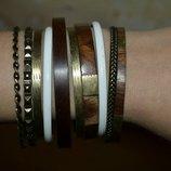 Набор браслетов, браслеты, бижутерия, деревянный браслет, железный браслет, белые браслеты