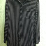 Рубашка черная в белую полоску фирмы lavender hill. евро 48 54-58