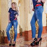 Стильные женские джинсы слимы 1518.