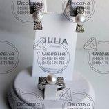 Жіночий срібний набір, серебряный набор с жемчугом, срібло з перлинками, серебряные украшения