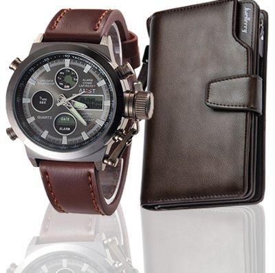 Комплект ударопрочные часы AMST портмоне Baellerry Business