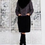 Комбинированное пальто зимнее