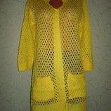 Желтый кардиган-накидка ,вязка коттон ажур