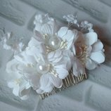 свадебный гребень, свадебный гребешок, гребень невесты, белый гребень