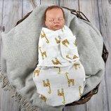 летняя пеленка кокон свивальник муслиновый для новорожденного, рыбки, фламинго, жираф