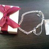 Набор серебряный браслет с подвеской размер 22 , 7,22 г, новый, золотой век