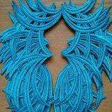 Лейсы, кружево нашивное, пришивные зеркальные голубые