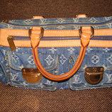 сумка Louis Vuitton Neo Speedy Monogram Denim оригинал Франция кожа текстиль идеал