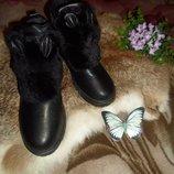 Зимние, стильные боты с ушками и натур мехом 39р