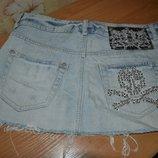 M джинсовая юбка, юбка джинсовая, юбка, юбка с черепом, юбка со стразами, короткая юбка