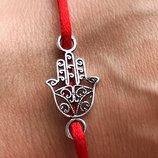 Красная нить серебряная оберег Рука Фатимы Хамса черненая 008