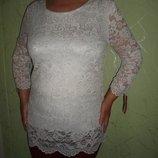 Белоснежная удлиненная кружевная блуза, набивной гипюр подкладка кристалл.Размер подойдет в идеале н