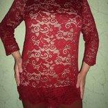 Удлиненная кружевная блуза,бордо, набивной гипюр подкладка nude кристалл