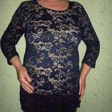 Удлиненная кружевная блуза,индиго, набивной гипюр подкладка nude кристалл