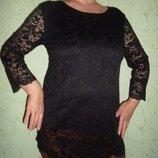 Удлиненная кружевная блуза,черная, набивной гипюр подкладка кристалл