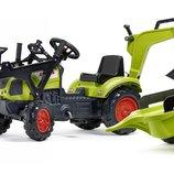 Трактор педальный детский Falk 2040N Claas Arion передний задний ковш и прицеп