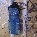 S-M Джинсовый комбинезон юбка платье рванка шипы стильное