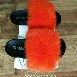 Летние шлепанцы с натуральным мехом кролика