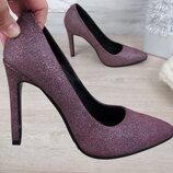 Туфли лодочки на каблуке, натуральная кожа
