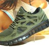 Кроссовки мужские Nike Free Run Plus 2 хаки 41р-46р