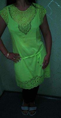 Платье-Туника с перфорацией,салат