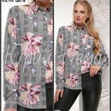52, 54, 56. Женская рубашка. цветочный принт. клетка, блузка, батал, большой размер, блуза,