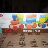 деревянный паровоз-каталка геометрика в коробке