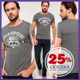 мужская футболка серая DeFacto / Де Факто с белой надписью на груди Freedom
