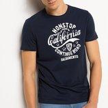 мужская футболка синяя Facto / Де Факто в белую надпись на груди California