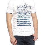 белая мужская футболка LC Waikiki / Лс Вайкики с синей надписью на груди Marine