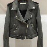 Женская замшевая куртка косуха графит темно-серая S