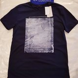 синяя мужская футболка LC Waikiki / Лс Вайкики с рисунком и надписью на груди