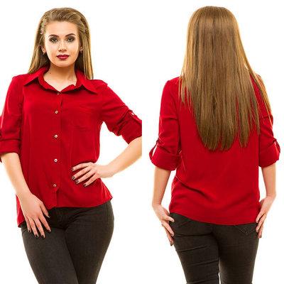 edd13bd49f8 Летняя женская рубашка в больших размерах 197 Штапель Однотон в расцветках.