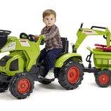 Трактор педальный детский Falk 1010WH Claas Axos передний ковш экскаватор и прицеп