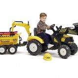 Трактор педальный детский Falk 1000WH Powerloader передний ковш экскаватор и прицеп