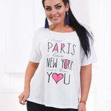 Летняя свободная женская футболка в больших размерах 3251 PARIS - NEW YORK .